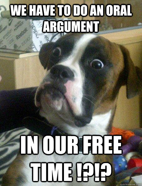 we have to do an oral argument in our free time !?!? - we have to do an oral argument in our free time !?!?  Baffled boxer
