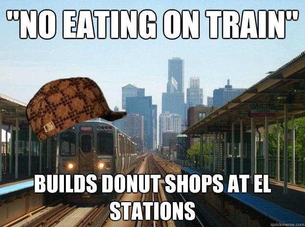 no eating on train builds donut shops at el stations. Black Bedroom Furniture Sets. Home Design Ideas