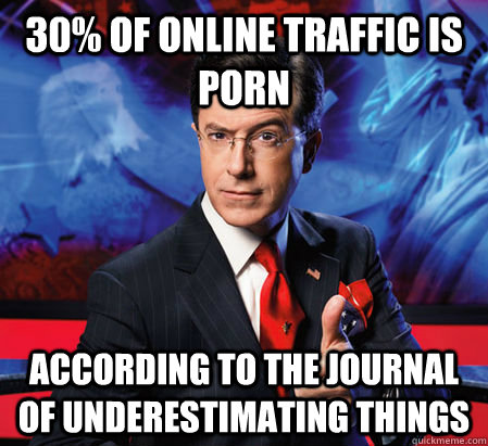 30% of online traffic is porn according to the journal of underestimating things