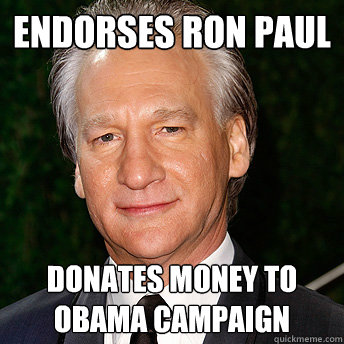 Endorses Ron Paul donates money to obama campaign