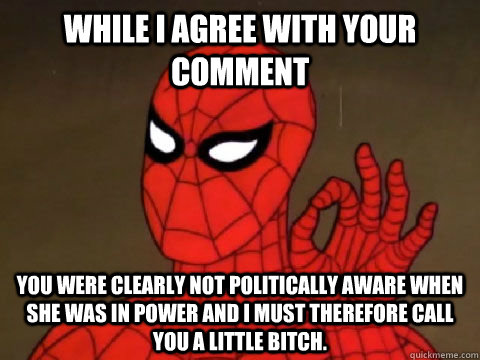 While I agree with your comment You were clearly not politically aware when she was in power and I must therefore call you a little bitch.