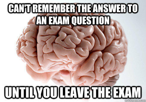 Can't remember the answer to an exam question until you leave the exam - Can't remember the answer to an exam question until you leave the exam  Scumbag Brain