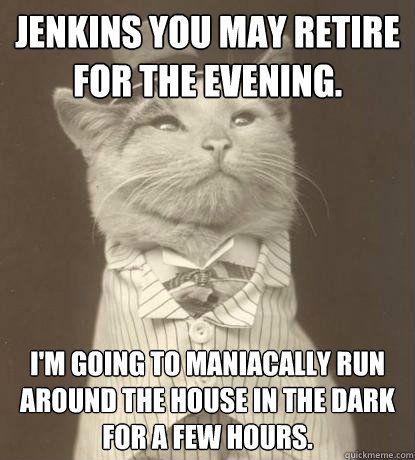 Jenkins you may retire for the evening. I'm going to maniacally run around the house in the dark for a few hours. - Jenkins you may retire for the evening. I'm going to maniacally run around the house in the dark for a few hours.  Aristocat