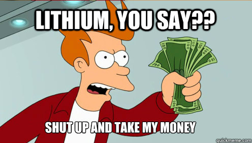 Lithium, you say?? Shut up AND TAKE MY MONEY - Lithium, you say?? Shut up AND TAKE MY MONEY  fry take my money