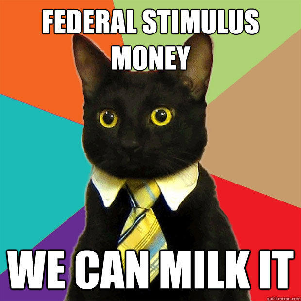 FEDERAL STIMULUS MONEY WE CAN MILK IT - FEDERAL STIMULUS MONEY WE CAN MILK IT  Business Cat