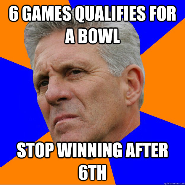 6 Games qualifies for a bowl Stop winning after 6th  Uninformed Zook