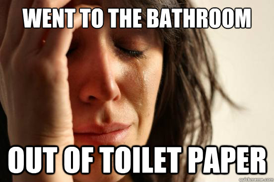 Went to the bathroom out of toilet paper - Went to the bathroom out of toilet paper  First World Problems