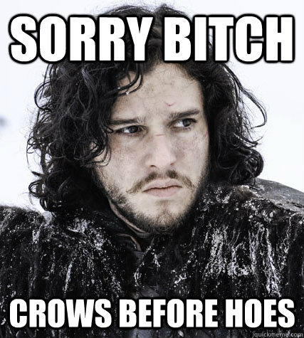 sorry bitch crows before hoes - sorry bitch crows before hoes  Jon Snow