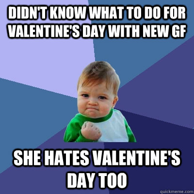 Didn't know what to do for Valentine's day with new GF She hates Valentine's day too  Success Kid