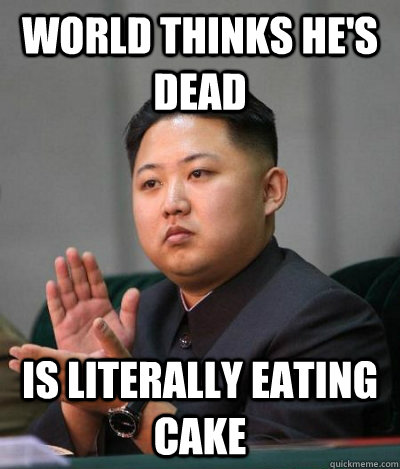 world thinks he's dead is literally eating cake