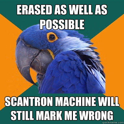 erased as well as possible scantron machine will still mark me wrong  - erased as well as possible scantron machine will still mark me wrong   Paranoid Parrot