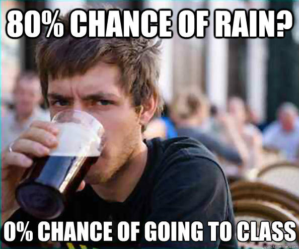 80% chance of rain? 0% chance of going to class - 80% chance of rain? 0% chance of going to class  Lazy College Senior