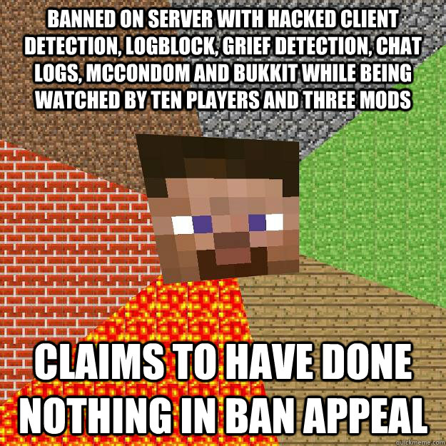 Funny Memes Minecraft : Banned on server with hacked client detection logblock