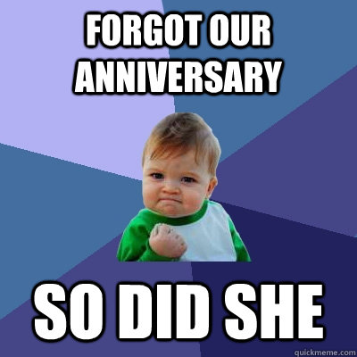 Forgot our anniversary So did she - Forgot our anniversary So did she  Success Kid