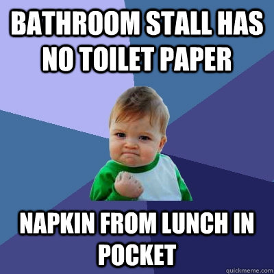 Bathroom stall has no toilet paper napkin from lunch in ...