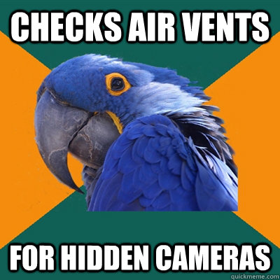 Checks air vents for hidden cameras - Checks air vents for hidden cameras  Paranoid Parrot