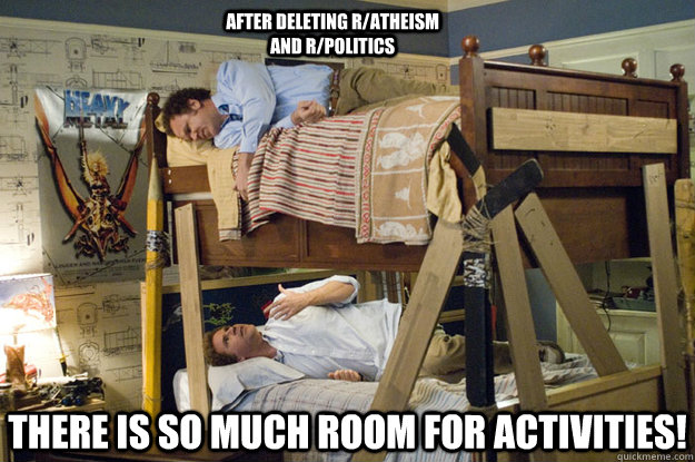 There is so much room for activities!  After deleting r/atheism and r/politics