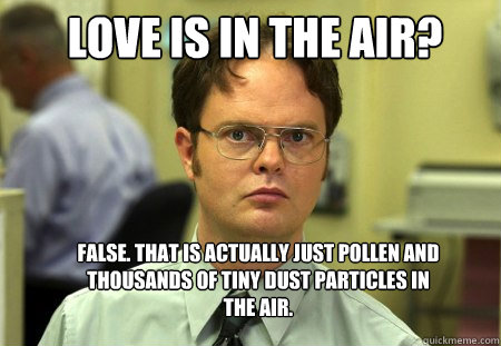 Love is in the Air? False. that is actually just pollen and thousands of tiny dust particles in the air. - Love is in the Air? False. that is actually just pollen and thousands of tiny dust particles in the air.  Schrute