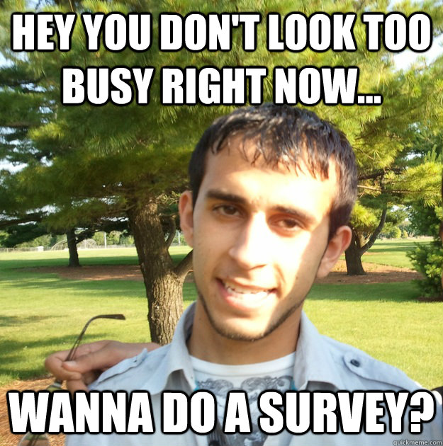 Hey you don't look too busy right now... wanna do a survey? - Hey you don't look too busy right now... wanna do a survey?  Misc