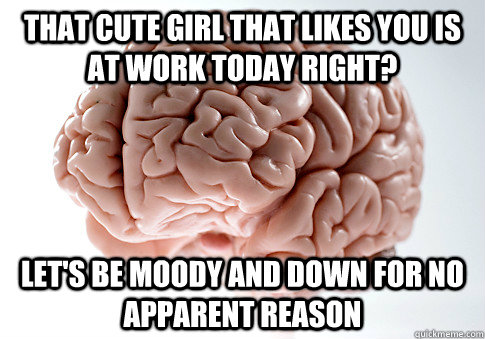 that cute girl that likes you is at work today right? Let's be moody and down for no apparent reason - that cute girl that likes you is at work today right? Let's be moody and down for no apparent reason  Scumbag Brain