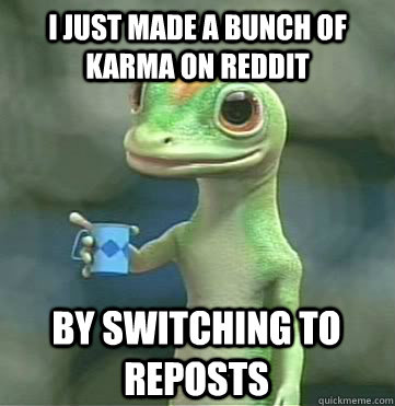 I just made a bunch of karma on reddit by switching to reposts - I just made a bunch of karma on reddit by switching to reposts  Geico