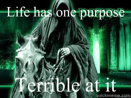 Life has one purpose Terrible at it - Life has one purpose Terrible at it  The Nazgul