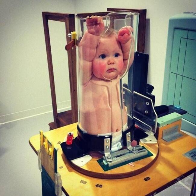 This is how babies are X-ray'd. A child immobilization device.