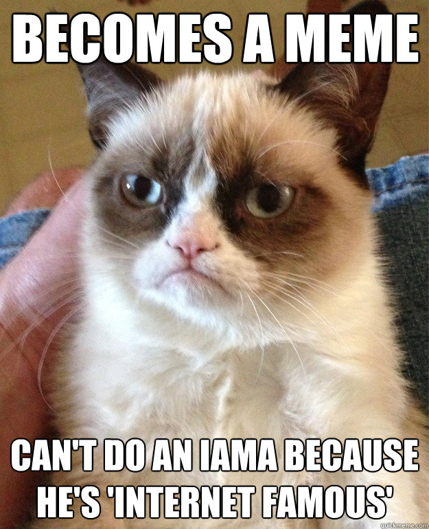 becomes a meme can't do an iama because he's 'internet famous' - becomes a meme can't do an iama because he's 'internet famous'  Grumpy Cat