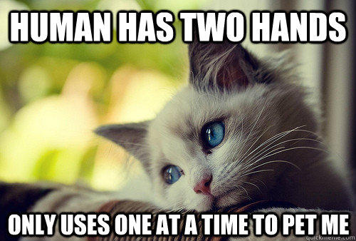 Human has two hands only uses one at a time to pet me - Human has two hands only uses one at a time to pet me  First World Cat Problems