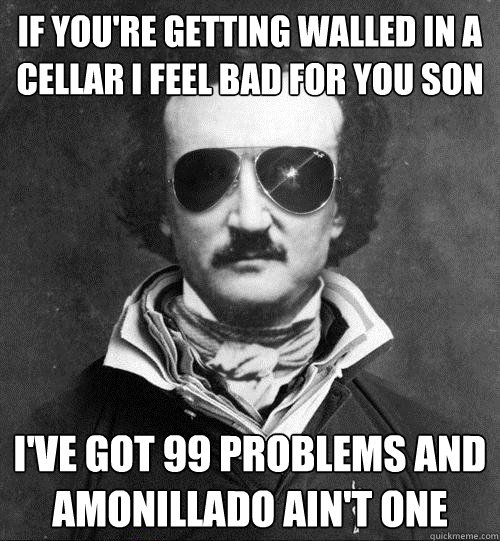 If you're getting walled in a cellar I feel bad for you son I've got 99 problems and Amonillado ain't one