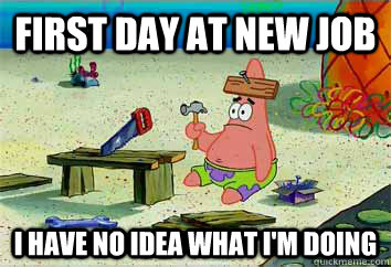 First day at new job I have no idea what i'm doing  I have no idea what Im doing - Patrick Star