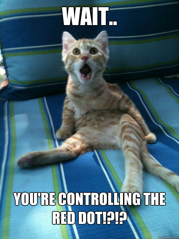 wait.. You're controlling the red dot!?!? - wait.. You're controlling the red dot!?!?  utterly stunned kitten