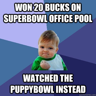 Won 20 Bucks on Superbowl office pool Watched the puppybowl instead - Won 20 Bucks on Superbowl office pool Watched the puppybowl instead  Success Kid