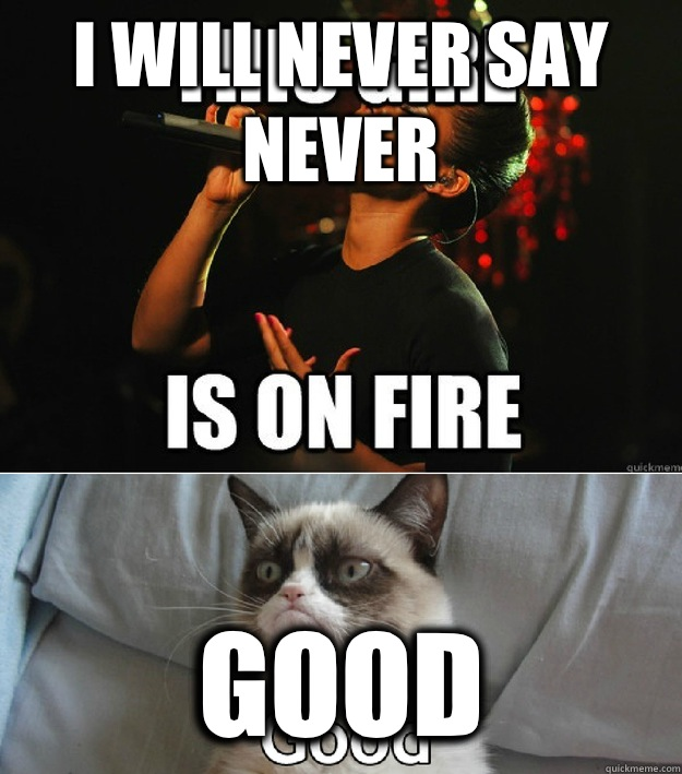 I will never say never Good - I will never say never Good  Alicia Keys and Grumpy Cat