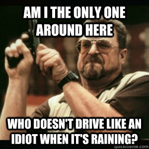 Am i the only one around here who doesn't drive like an idiot when it's raining? - Am i the only one around here who doesn't drive like an idiot when it's raining?  Am I The Only One Round Here