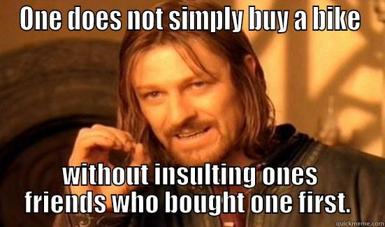 ONE DOES NOT SIMPLY BUY A BIKE WITHOUT INSULTING ONES FRIENDS WHO BOUGHT ONE FIRST.  Boromir