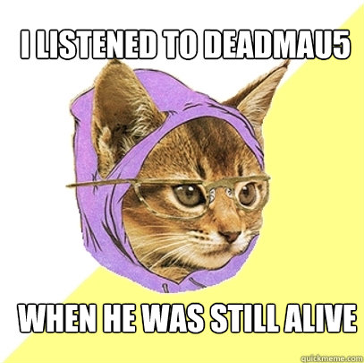 I listened to deadmau5 When he was still alive - I listened to deadmau5 When he was still alive  Hipster Kitty