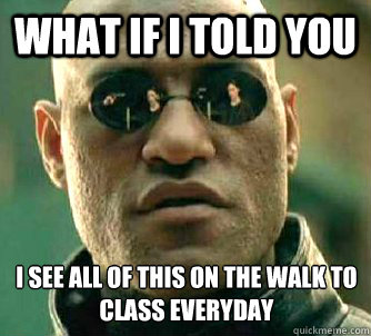 What if I told you I see all of this on the walk to class everyday - What if I told you I see all of this on the walk to class everyday  Matrix Morpheus