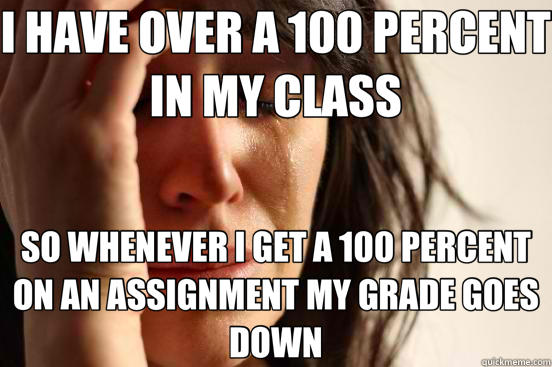 I HAVE OVER A 100 PERCENT IN MY CLASS SO WHENEVER I GET A 100 PERCENT ON AN ASSIGNMENT MY GRADE GOES DOWN