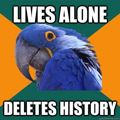 LIVES ALONE DELETES HISTORY - LIVES ALONE DELETES HISTORY  Paranoid Parrot