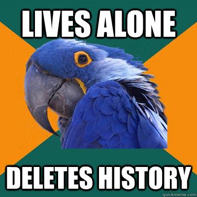 LIVES ALONE DELETES HISTORY - LIVES ALONE DELETES HISTORY  Paranoid Parrot