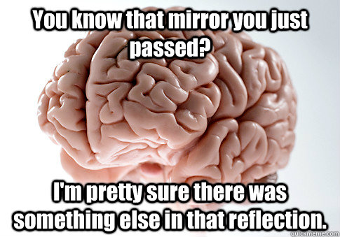 You know that mirror you just passed? I'm pretty sure there was something else in that reflection.  - You know that mirror you just passed? I'm pretty sure there was something else in that reflection.   Scumbag Brain