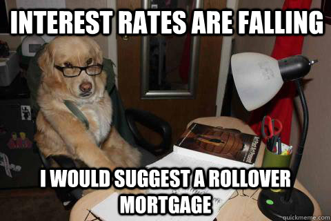 Interest rates are falling I would suggest a rollover mortgage - Interest rates are falling I would suggest a rollover mortgage  Financial Advice Dog