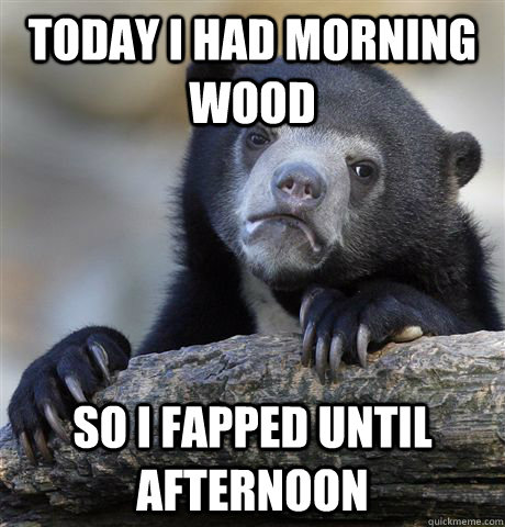 Today I had morning wood So i fapped until afternoon - Today I had morning wood So i fapped until afternoon  Confession Bear