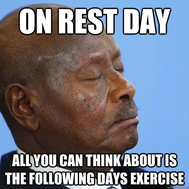 On Rest day All you can think about is the following days exercise - On Rest day All you can think about is the following days exercise  What most people really do on rest days