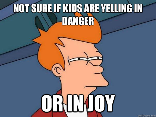 Not sure if kids are yelling in danger Or in joy - Not sure if kids are yelling in danger Or in joy  Futurama Fry