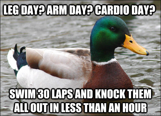 Leg Day? Arm day? Cardio Day? Swim 30 laps and knock them all out in less than an hour - Leg Day? Arm day? Cardio Day? Swim 30 laps and knock them all out in less than an hour  Actual Advice Mallard