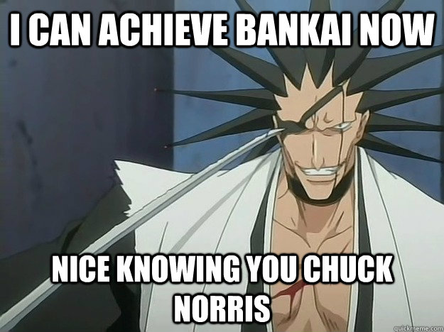 i can achieve bankai now nice knowing you chuck norris - i can achieve bankai now nice knowing you chuck norris  Awesome Kenpachi