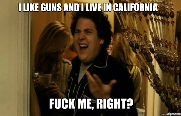 I like guns and i live in california FUCK ME, RIGHT? - I like guns and i live in california FUCK ME, RIGHT?  fuck me right