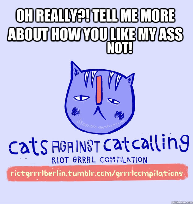 oh really?! tell me more about how you like my ass NOT!  cats against catcalling